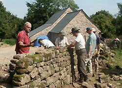 Volunteers repair a drystone wall.