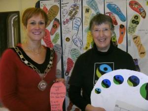 Abergavenny Mayor with Katrina Gass of the Fairtrade Forum.