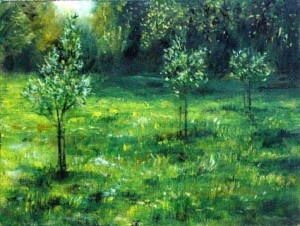 Community Orchard at 2 River Meadow painted by Richard Corbett