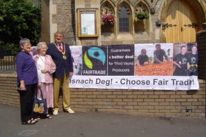 Members of Chepstow Fairtrade Forum flying the flag for Fairtrade