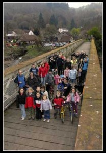 Members of the group and their families at Tintern Wireworks Bridge